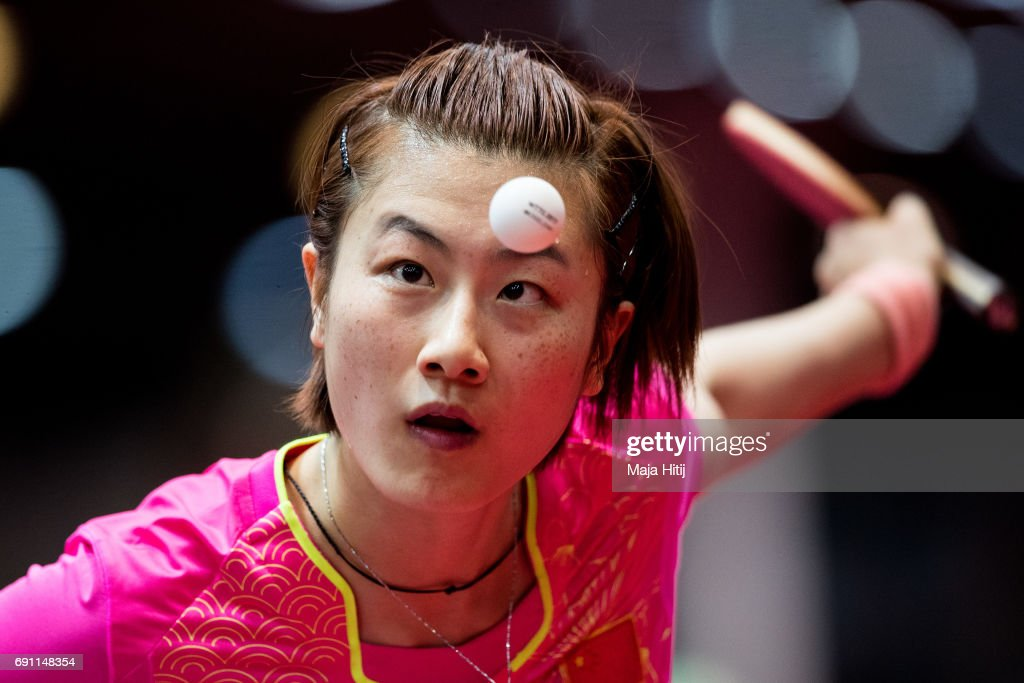 Ning Ding of competes during Women Single second round at Table Tennis World Championship at Messe Duesseldorf on June 1, 2017 in Dusseldorf, Germany.