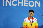 Ning Zetao wins gold medal in Men's 50 m freestyle during day four of the 2014 Asian Games at Munhak Park Taehwan Aquatics Center on September 23...