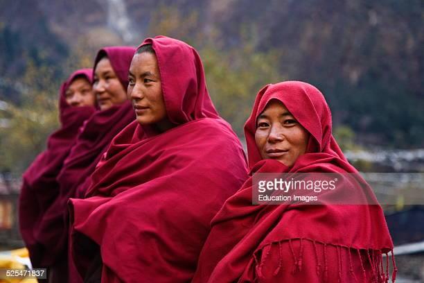 Ningmapa Nuns Wear Traditional Robes At A Remote Tibetan Buddhist Monastery Nepal Himalaya