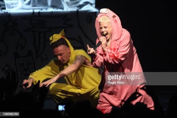 Ninja and YoLandi Vi$$er of Die Antwoord perform onstage at Gramercy Theatre on October 29 2010 in New York City
