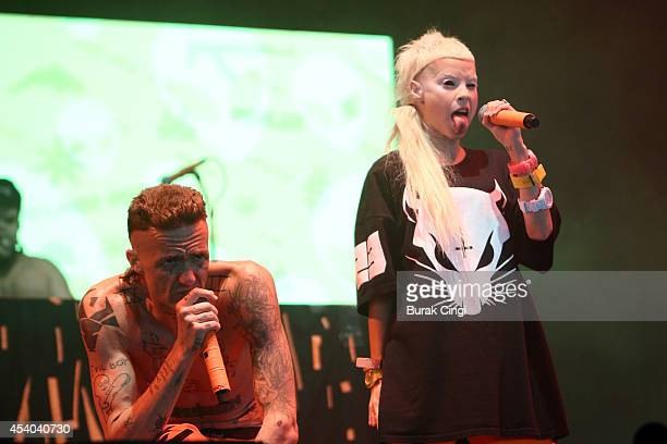 Ninja and YoLandi Visser of Die Antwoord perform on stage at Reading Festival at Richfield Avenue on August 23 2014 in Reading United Kingdom