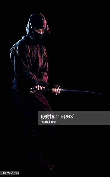 Ninja On Black With Sword