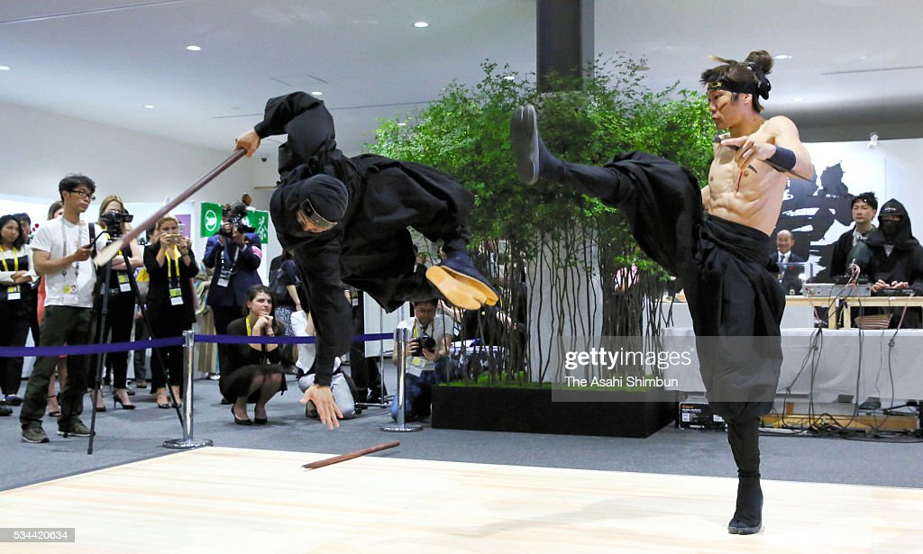 Ninja perfromance is displayed at the International Media Center during the Group of Seven summit on May 26, 2016 in Ise, Mie, Japan. The 2-day Group of Seven summit takes place to discuss key global issues such as global economy and counter terrorism measures.