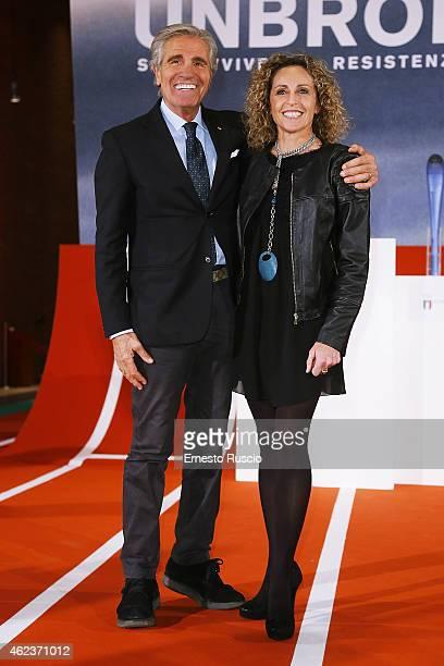 Nino Benvenuti and Alessandra Sensini attend the 'Unbroken' screening at Auditorium Parco della Musica on January 27 2015 in Rome Italy