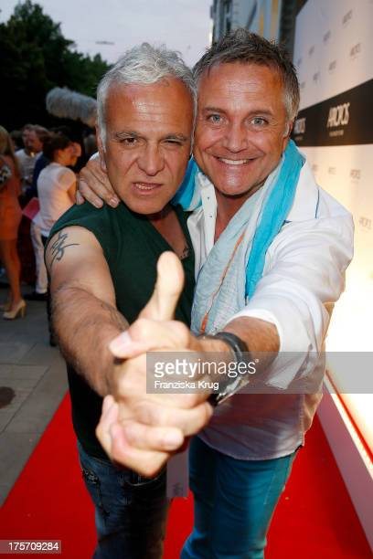 Nino de Angelo and Joerg Knoer attend the Concept Store Apropos Official Opening on August 06 2013 in Hamburg Germany