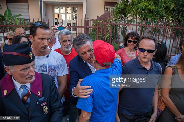 Nino Di Matteo an antiMafia judge at the D'Amelio Street to commemorate the death anniversary of Paolo Borsellino who was killed by the Mafia July 19...