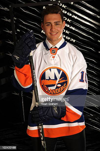 Nino Niederreiter drafted fifth overall by the New York Islanders poses for a portrait during the 2010 NHL Entry Draft at Staples Center on June 25...