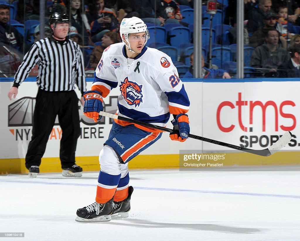 Nino Niederreiter #22 of Team White skates during a scrimmage match between players of the New York Islanders and Bridgeport Sound Tigers on January 16, 2013 at Nassau Veterans Memorial Coliseum in Uniondale, New York.