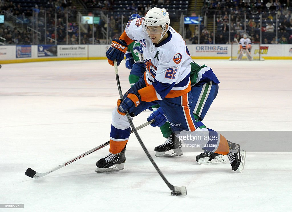 Nino Niederreiter #22 of the Bridgeport Sound Tigers takes a shot on goal during an American Hockey League game against the Connecticut Whale on March 3, 2013 at the Webster Bank Arena at Harbor Yard in Bridgeport, Connecticut.