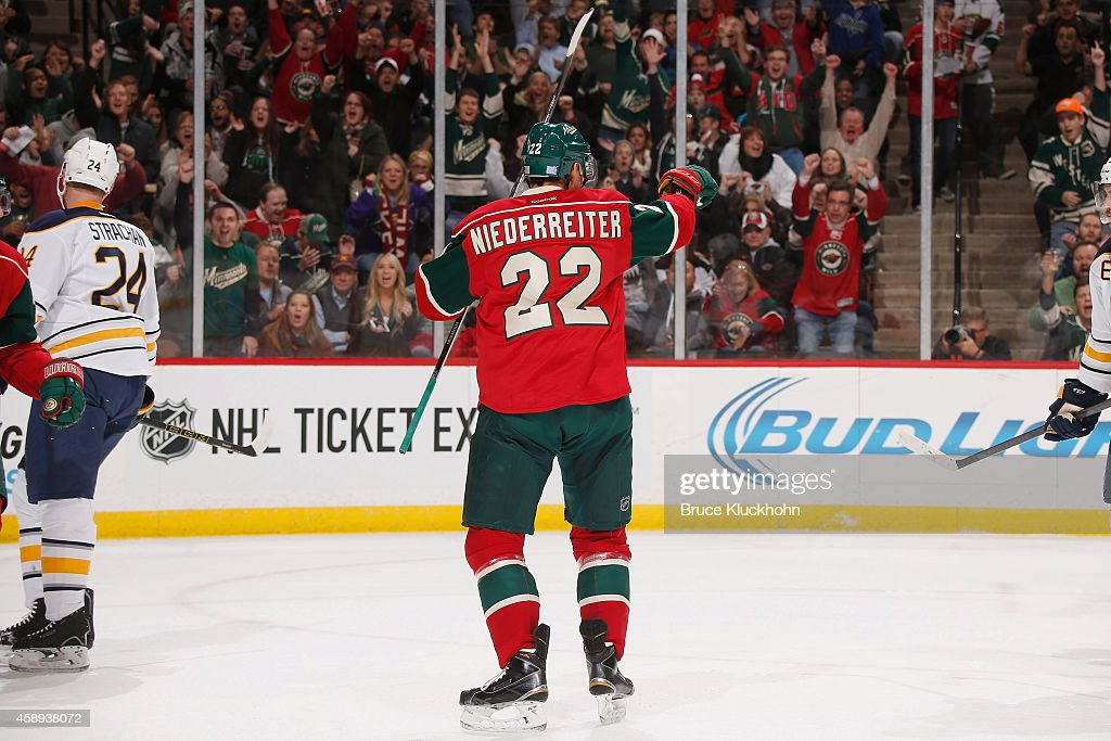 Nino Niederreiter of the Minnesota Wild celebrates after scoring a goal against the Buffalo Sabres during the game on November 13 2014 at the Xcel...