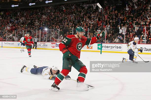 Nino Niederreiter of the Minnesota Wild celebrates after scoring a hat trick goal against the Buffalo Sabres during the game on November 13 2014 at...