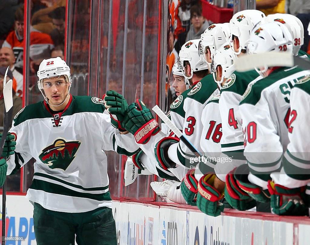 Nino Niederreiter of the Minnesota Wild celebrates his goal with teammates on the bench in the second period against the Philadelphia Flyers on...