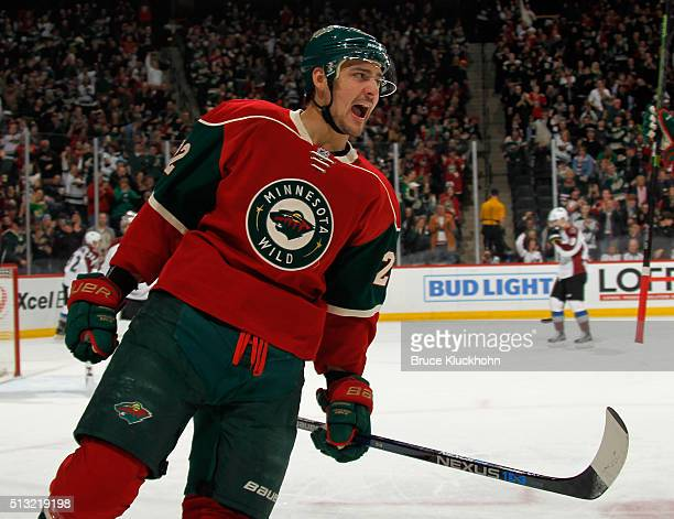 Nino Niederreiter of the Minnesota Wild celebrates scoring a goal against the Colorado Avalanche during the first period of the game on March 1 2016...