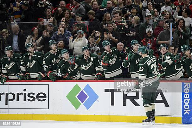 Nino Niederreiter of the Minnesota Wild celebrates scoring a goal against the Montreal Canadiens during the second period of the game on January 12...