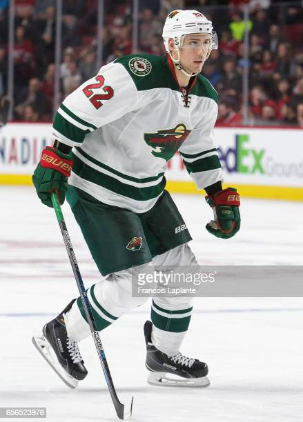 Nino Niederreiter of the Minnesota Wild plays in the game against the Montreal Canadiens at Bell Centre on March 12 2016 in Montreal Quebec Canada