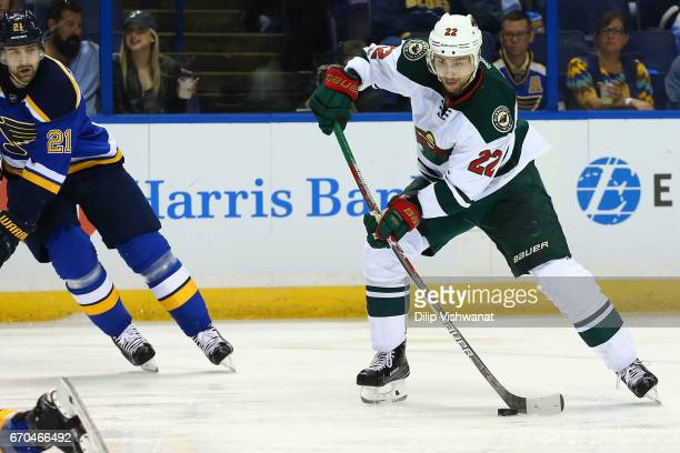 Nino Niederreiter of the Minnesota Wild shoots the puck against the St Louis Blues in Game Four of the Western Conference First Round during the 2017...