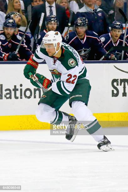 Nino Niederreiter of the Minnesota Wild skates after the puck during the game against the Columbus Blue Jackets on March 2 2017 at Nationwide Arena...
