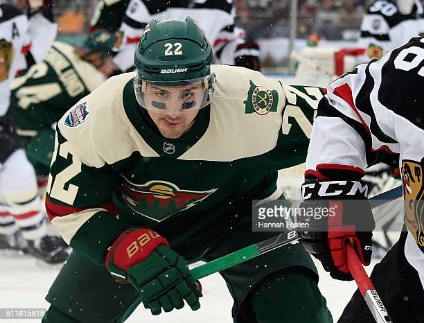 Nino Niederreiter of the Minnesota Wild skates against the Chicago Blackhawks at the TCF Bank Stadium during the 2016 Coors Light Stadium Series game...