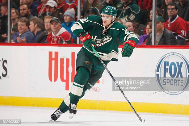 Nino Niederreiter of the Minnesota Wild skates against the Montreal Canadiens during the game on December 22 2015 at the Xcel Energy Center in St...