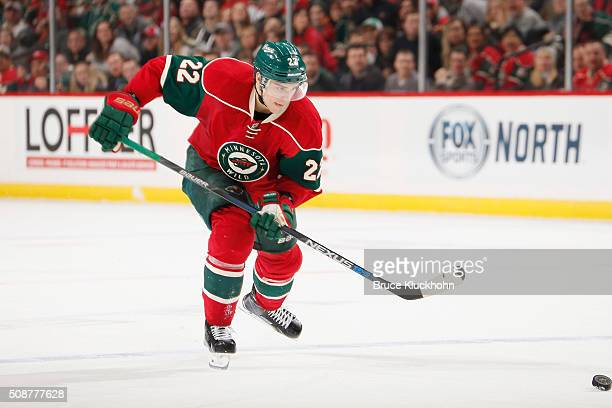 Nino Niederreiter of the Minnesota Wild skates to the puck against the Arizona Coyotes during the game on January 25 2016 at the Xcel Energy Center...