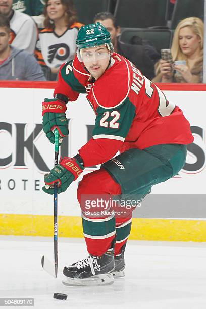 Nino Niederreiter of the Minnesota Wild skates with the puck against the Philadelphia Flyers during the game on January 7 2016 at the Xcel Energy...