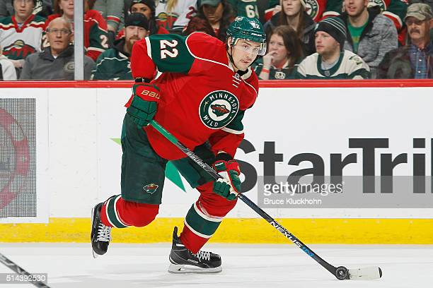 Nino Niederreiter of the Minnesota Wild skates with the puck against the New York Islanders during the game on February 23 2016 at the Xcel Energy...