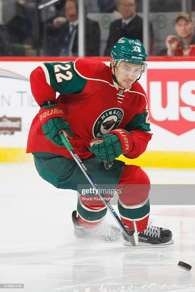 Nino Niederreiter of the Minnesota Wild skates with the puck against the Edmonton Oilers during the game on March 10 2016 at the Xcel Energy Center...