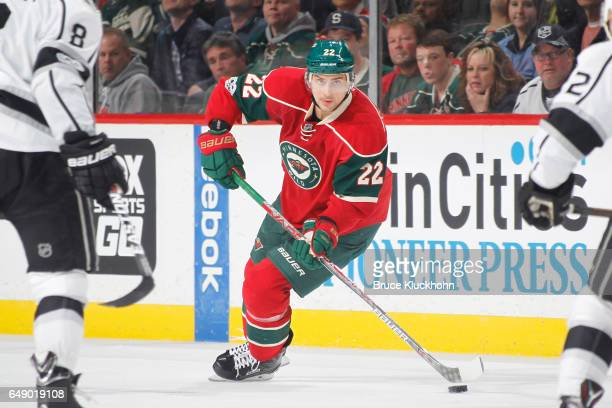 Nino Niederreiter of the Minnesota Wild skates with the puck against the Los Angeles Kings during the game on February 27 2017 at the Xcel Energy...