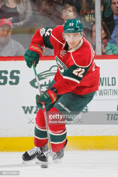 Nino Niederreiter of the Minnesota Wild skates with the puck against the St Louis Blues during the game on March 7 2017 at the Xcel Energy Center in...