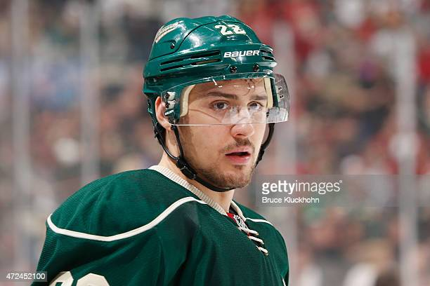 Nino Niederreiter of the Minnesota Wild waits for play to resume during Game Three of the Western Conference Semifinals during the 2015 NHL Stanley...