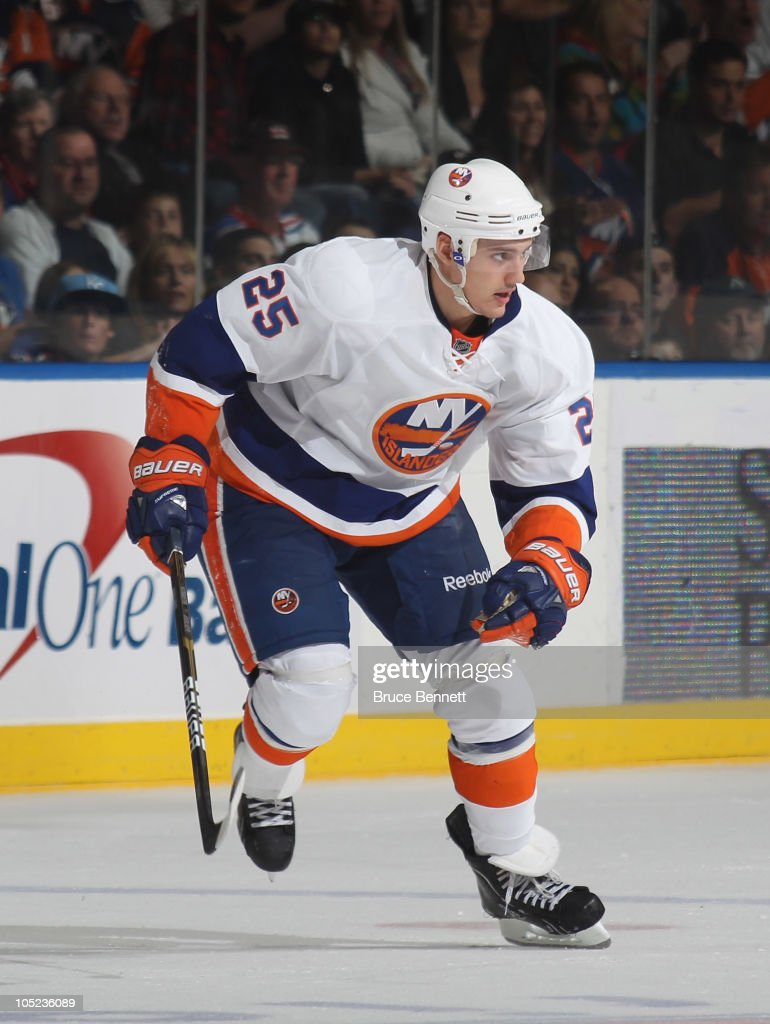 Nino Niederreiter of the New York Islanders skates against the New York Rangers at the Nassau Coliseum on October 11 2010 in Uniondale New York