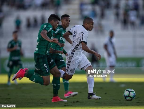 Nino Paraiba of Ponte Preta battles for the with Luan of Palmeiras during the match between Ponte Preta and Palmeiras as a part of Campeonato...
