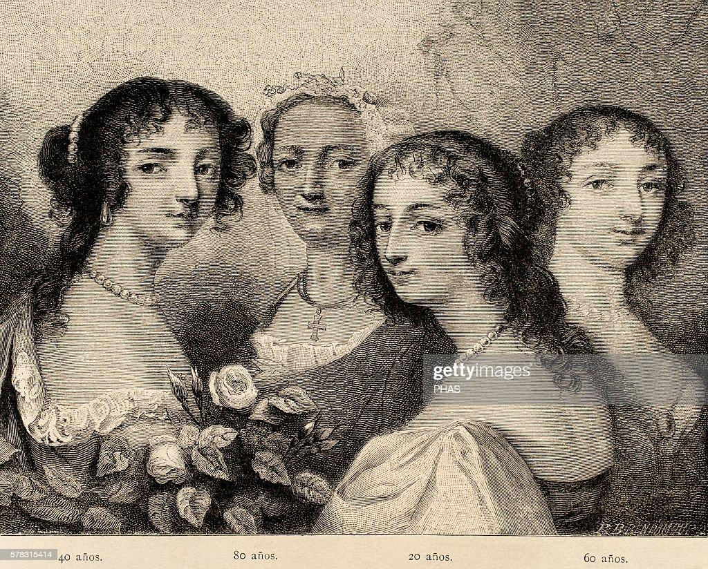 Ninon de l'Enclos French author courtesan freethinker and patron of the arts Portrait Engraving by R Brend'Amour Almanaque La Ilustracion 1882