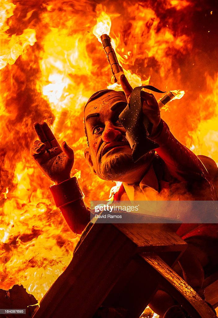 A 'Ninot' (puppet) depicting Spanish Prime Minister Mariano Rajoy burns during the last day of the Las Fallas Festival on March 20, 2013 in Valencia, Spain. The Fallas festival, which runs from March 15 until March 19, celebrates the arrival of spring with fireworks, fiestas and bonfires made by large puppets named Ninots.