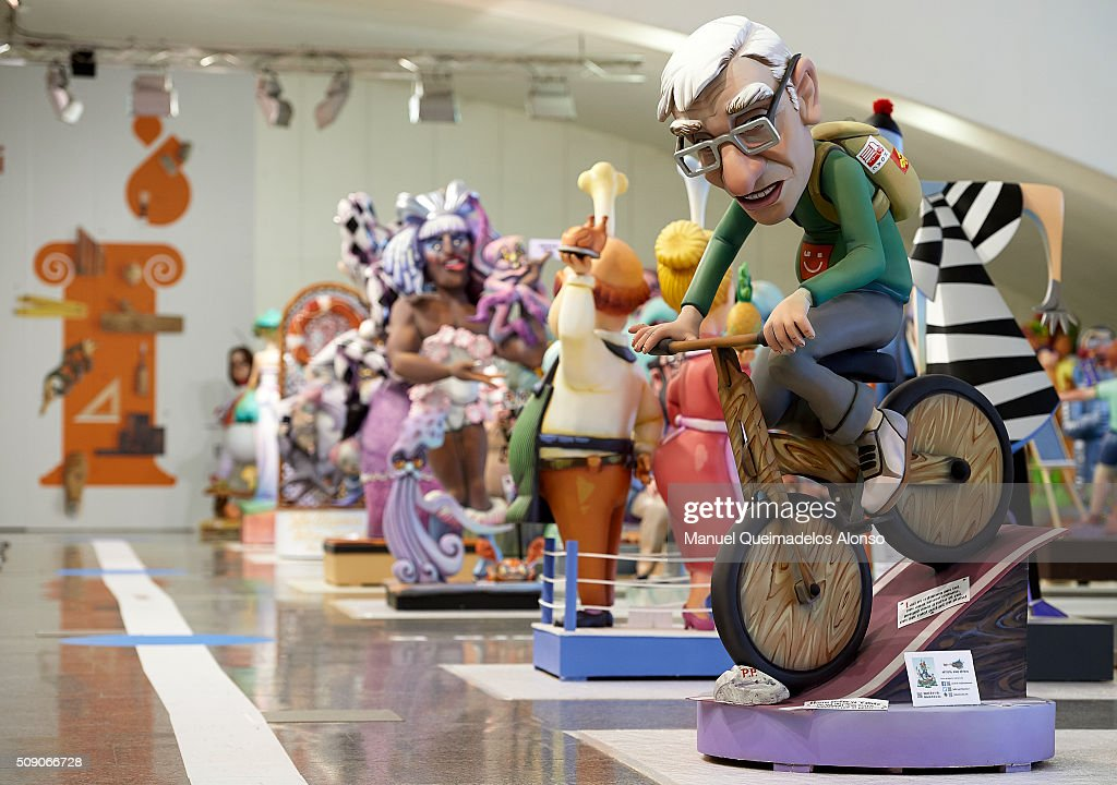 A 'Ninot' of Joan Ribo, Mayor of Valencia is displayed during the Ninot exhibition ahead of Las Fallas Festival at Museo de Las Ciencias Principe Felipe on February 8, 2016 in Valencia, Spain. The Fallas festival, which runs from March 15 until March 19, celebrates the arrival of spring with fireworks, fiestas and bonfires made by large puppets named Ninots.