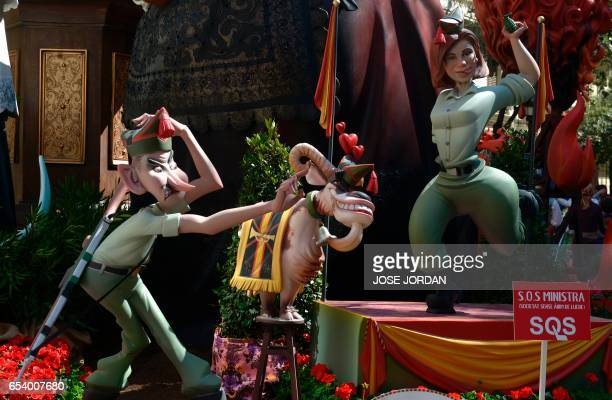 A Ninot of Spanish Minister of Denfensa Maria del Cospedal is displayed during the Fallas Festival in Valencia on March 16 2017 Fallas are gigantic...