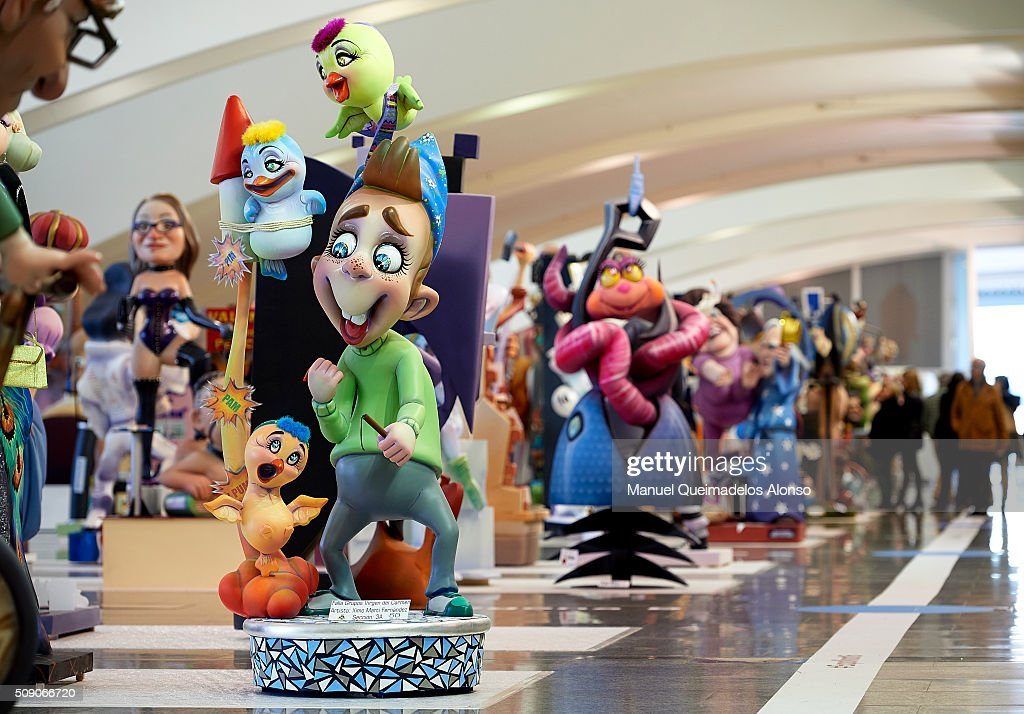 'Ninots' are displayed during the Ninot exhibition ahead of Las Fallas Festival at Museo de Las Ciencias Principe Felipe on February 8, 2016 in Valencia, Spain. The Fallas festival, which runs from March 15 until March 19, celebrates the arrival of spring with fireworks, fiestas and bonfires made by large puppets named Ninots.