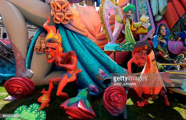 Ninots representing members of the PSOE Pedro Sanchez and Felipe Gonzalez are displyed during the Fallas Festival in Valencia on March 16 2017 Fallas...