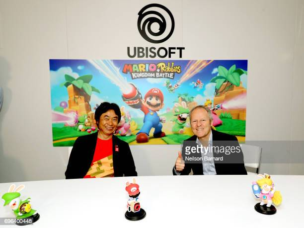 Nintendo coRepresentative Director and Creative Fellow Shigeru Miyamoto and Ubisoft Cofounder and CEO Yves Guillemot attend E3 2017 at Los Angeles...