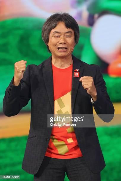 Nintendo coRepresentative Director and Creative Fellow Shigeru Miyamoto talks about 'Mario Rabbids Kingdom Battle' on stage during the Ubisoft E3...
