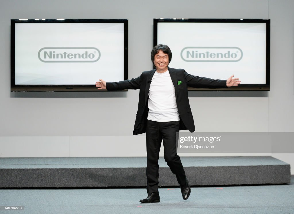 Nintendo producer <a gi-track='captionPersonalityLinkClicked' href=/galleries/search?phrase=Shigeru+Miyamoto&family=editorial&specificpeople=2608501 ng-click='$event.stopPropagation()'>Shigeru Miyamoto</a>, who created Super Mario Bros, speaks during a press conference for Nintendo's new hand held game console Wii U at the Electronic Entertainment Expo at the Galen Center on June 5, 2012 in Los Angeles, California. Thousands are expected to attend the annual three-day convention to see the latest games and announcements from the gaming industry.