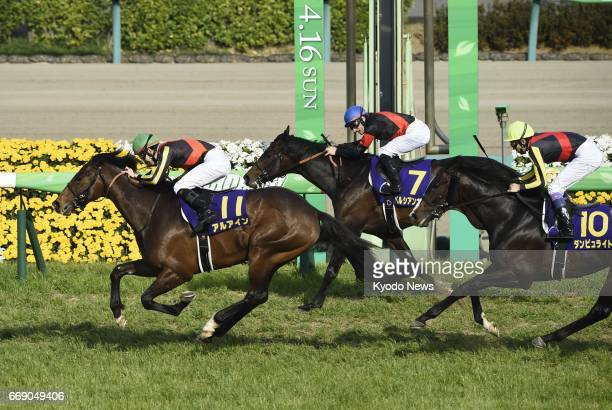 Ninth favorite Al Ain wins the 77th running of the Satsukisho at Nakayama Racecourse in Funabashi east of Tokyo on April 16 2017 Jockey Kohei...