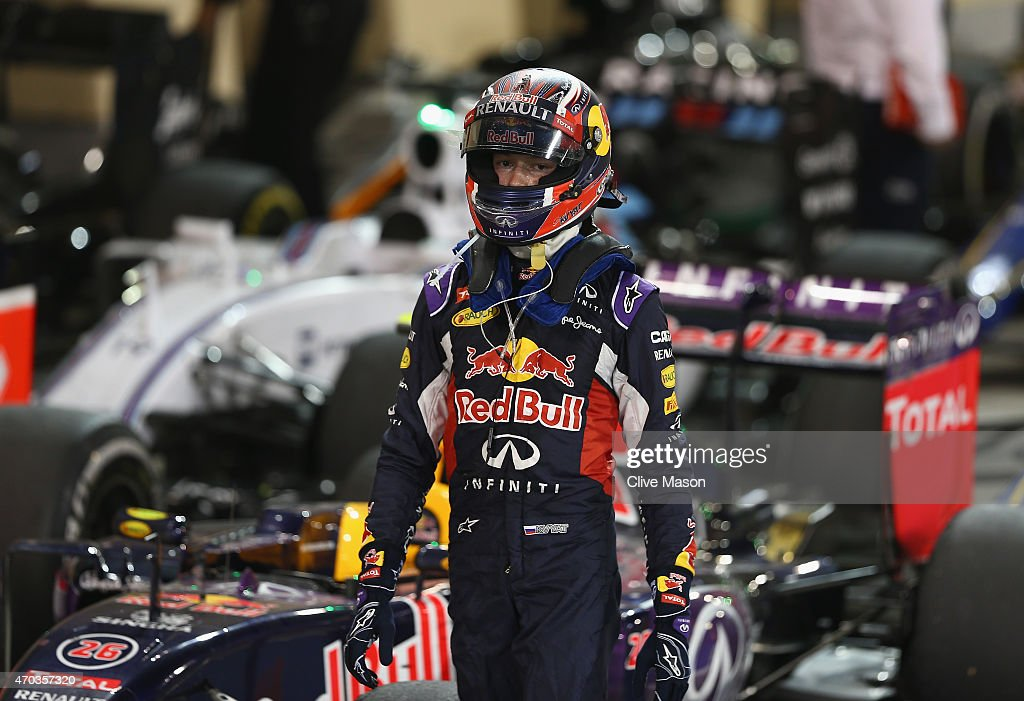 Ninth placed Daniil Kvyat of Russia and Infiniti Red Bull Racing walks away from his car in Parc Ferme during the Bahrain Formula One Grand Prix at...