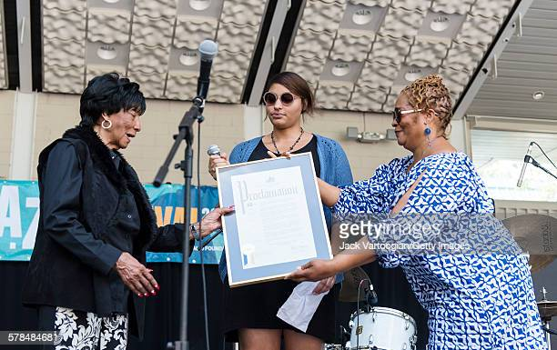 Nintyfive yearold American Lindy Hop dancer Norma Miller receives a proclamation from Diana Howard of Manhattan Borough President Gale Brewer's...
