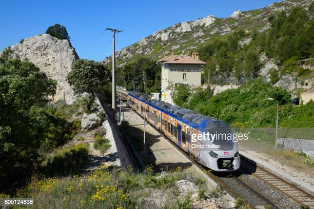 Niolon Train Station on the Côte Bleu Coastal Railway west of Marseille