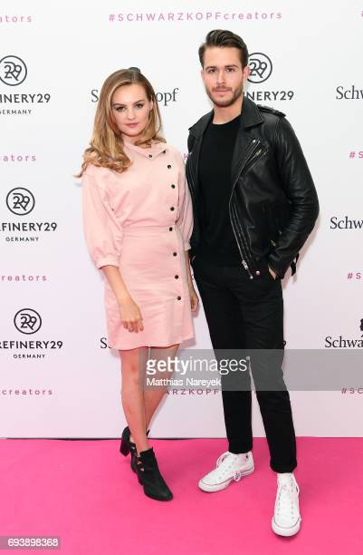 Niomi Smart and Adam Gallagher attend the Schwarzkopf x Refinery29 event at Bar Babette on June 8 2017 in Berlin Germany
