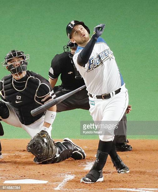Nippon Ham Fighters' Brandon Laird hits a threerun homer during the first inning of the Pacific League Climax Series Final Stage Game 3 against the...