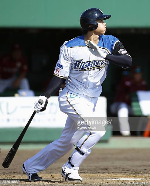 Nippon Ham Fighters pitcherdesignated hitter Shohei Otani hits a tiebreaking threerun home run in the fifth inning of a 93 win over the Rakuten...