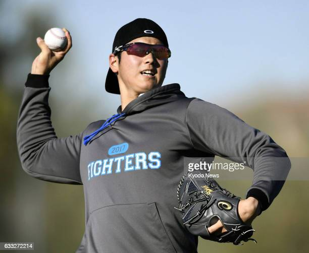 Nippon Ham Fighters pitcherdesignated hitter Shohei Otani plays catch in Peoria Arizona on Jan 31 2017 Otani said the same day he will not pitch for...