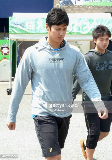 Nippon Ham Fighters pitcherdesignated hitter Shohei Otani starts his rehab of a leftthigh muscle strain at the club's farm team facility in Kamagaya...